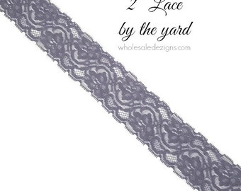 """NEW Grey Elastic Lace - 2"""" - High Quality Lace - DIY Headbands Maternity Sash Garter Bridal Lace - Stretch Lace By The Yard - 2 inches Wide"""