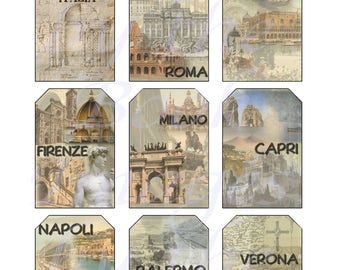Italy Printables, GIFT TAGS (2 x 3 inches)