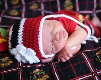 BABY GIRL HOCKEY, Red Black Hockey, Crochet Hockey Hat, Baby Knit Hockey Hat, Hockey Baby Girl Hat, Hockey Baby Gift, Hawk Feathers Hockey