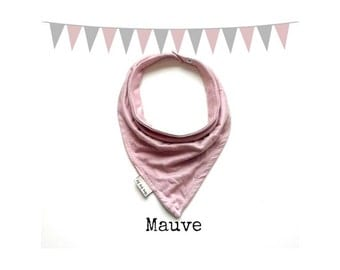 Baby Bandana Bib Scarf in Mauve Jersey Knit with Snap Closure for Girl