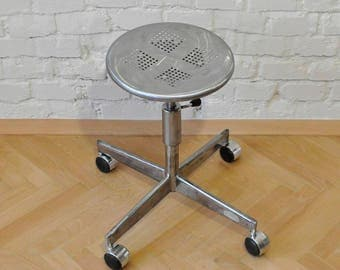 Steel wheelchair, industrial, with suspension, recycled furniture