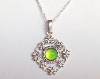 Sterling Silver 925 Mood Necklace Filigree color changing