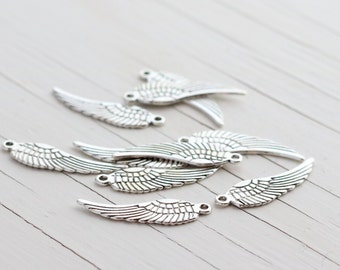 Angel Wing Charm Pendants - Double Sided - Silver Color - 10 count