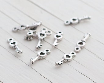 Antique Silver Keys - Tiny Charms - 10mm - 10 charms