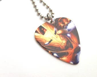 The Ironman Guitar Pick Necklace with Stainless Steel Ball Chain - comic book - Marvel Comics
