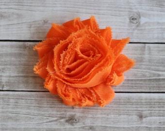 Bright orange shabby chic rosette hair clip orange frayed chiffon flower clip
