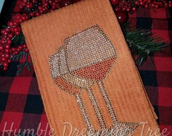 Wine Lover Gift Rhinestone Wine Glasses Kitchen Towel Orange