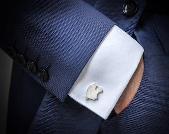 Men's cufflinks - Wedding Cufflinks sterling silver – Tiger Cufflinks for groom – Groomsmen Cufflinks