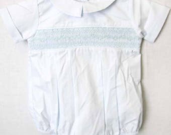 Baptism Outfit | Infant Boy Smocked Baptism Outfit |  Baby Bubble Suit |Baby Bubble Romper |  Baby Boy Clothes - Boy Bubble  412601 - CC169