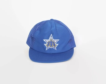 Vintage 80s MARINERS Hat / 1980s Classic Logo Blue Mesh Trucker Style Baseball Cap M - L
