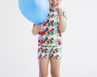 BALLOON (White): Boys Swim Shorts
