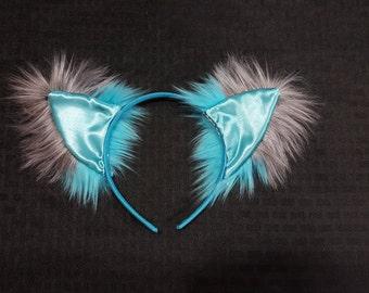 Custom Aqua Blue Turquoise and Grey Cheshire Cat Ears Tim Burton Style Modern Alice in Wonderland Cosplay Rave Wear