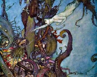 Edmund Dulac. Splendiferous MERMAID Fairy Tale Vintage DIGITAL Illustration. Digital Sea Sprite Download. From First Edition