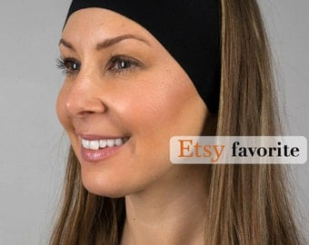 The BEST Yoga Running Headband ever - Activewear by Manda Bees - Black Headband - No Slip Headband - Wide Headband - MIDNIGHT