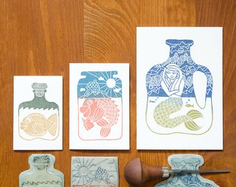 Bottles & Jars - hand printed greeting cards - set of 3