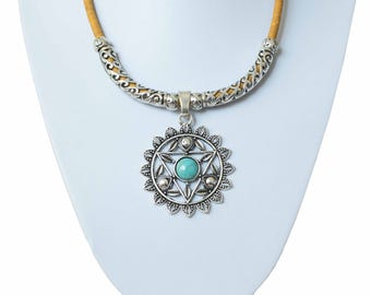 Portuguese Cork Necklace, Folk Art, Statement Necklace, Pendants, Portuguese Jewelry, Ecofriendly, Cork
