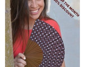 Folding HAND FAN | Fan of the Month 50% OFF | 50s style polka dot design | brown with turquoise polka dots | retro | Free Shipping Worldwide