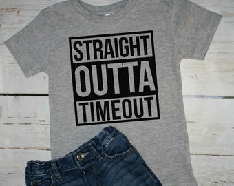 Straight Outta Time out, busy toddler, trendy toddler, timeout shirt, toddler tshirt, outta timeout, toddler shirt, straight outta shirt