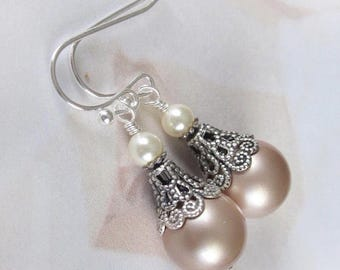 Champagne Pearl Earrings, Mother of The Bride, Bridesmaid Earrings, Vintage Style Pearl Drop Wedding Earrings, Wedding Jewelry, Silver