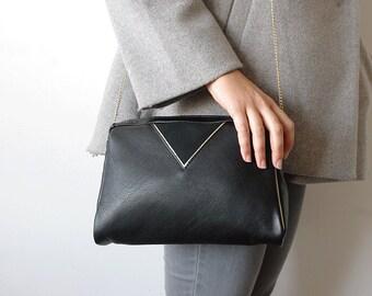 Sac Eucalyptus en cuir noir et or { sac bohème chic graphique femme pochette petit sac }