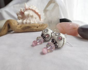 Pink, White Beaded Handmade Drop Dangle Earrings with Jesse James Beads, Glass Beads, Cat's Eye Beads, for Spring, Summer, Weddings, for Her