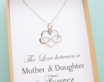 Mother Daughter Necklace, Mother Daughter Jewelry, Mother and Daughter Gift, Mom Gift, Infinity Heart Charm Necklace, Gold or Silver
