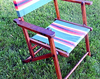 Lawn Chair Wood and Canvas Campfire Seat Folding Beach Chair