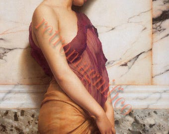 Five Paintings of beautiful Women vintage digital download images, 1880's to early 1900's