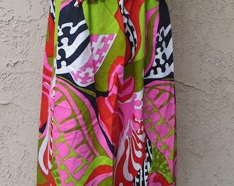 Vintage 1960's bright op art wild print cotton sleeveless maxi dress boho hippie