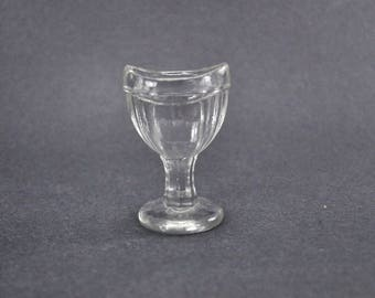Eye Wash Cup Vintage G 41 Clear Glass Footed Pedestal Ribbed 8 Panel