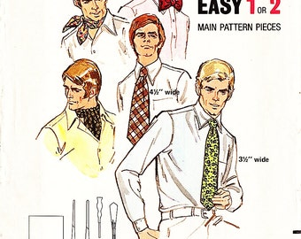 Butterick 6013 Vintage 1960s Men's Ties, Ascot, Square Scarf, Bow Tie Sewing Pattern