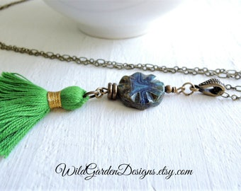 Green Boho Tassel Necklace Grass Green Tassel Pendant Long Pendant Necklace Colorful Bohemian Style Pendant Rustic Czech Glass Gift for Her