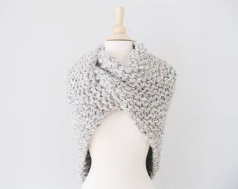 Wool Shawl Wrap, Knit Shawls and Wraps, Knitted Shawl Claire Wrap, Chunky Knit Shawl, Highland Shawl