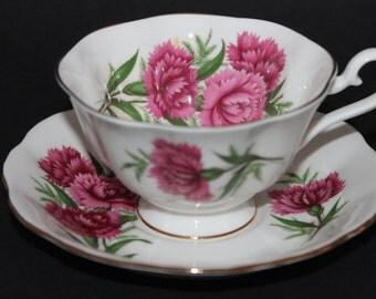 """ROYAL ALBERT Bone China Teacup and Saucer Set """"Carnation"""""""