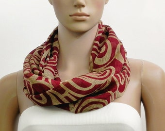 Red Scarf Infinity Scarf Brown Scarf Fashion Scarves Scarf Shawl Cowl Scarf Tube Scarf Summer Scarf Gift for her Handmade Multicolor Scarf
