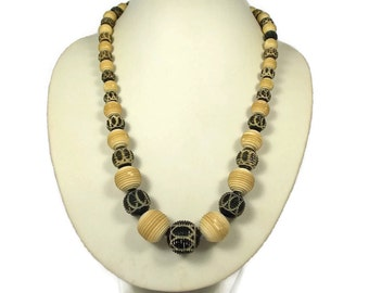 Art Deco Black White Celluloid Tribal Style Necklace