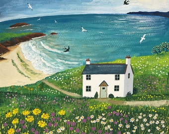 Print of English seaside with white cottage, seagulls and swallows from an original acrylic painting 'Seaside Cottage' by Jo Grundy