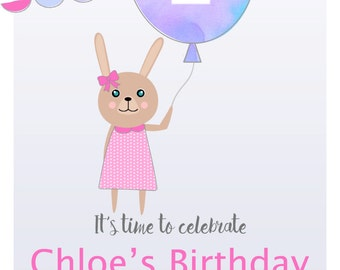 Bunny and Watercolour Balloon Birthday Invitation - DIY Printing - JPEG File