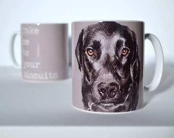 Labrador Mug. Hungry Labrador mug. Take me to your biscuits. Funny Labrador Mug By Bethany Moore