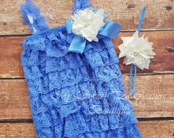 Blue Lace Embelished Petti Romper & Headband Set - Ruffle Romper Set- Petti Romper- Ivory Headband Set- Photo prop- Birthday Outfit- Blue