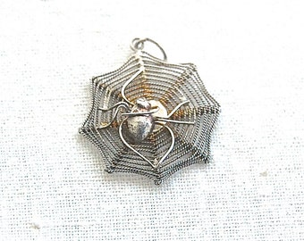 British VINTAGE Sterling Silver Charm - Spider with Spider web / Spider's web