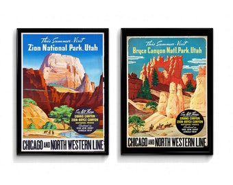 Two Print Bundle Zion National Park Bryce Canyon National Park Print Wall Art Prints Vintage Prints Wall Decor National Park Poster Nature