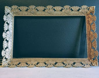 Vintage Brass Filigree Frame /Hollywood Regency Gold Frame /Gold Metal Frame