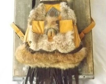 Boho Gypsy backpack, festival backpack, leather pack with reclaimed fur, leather purse, fur satchel with suede fringe, bohemian style purse