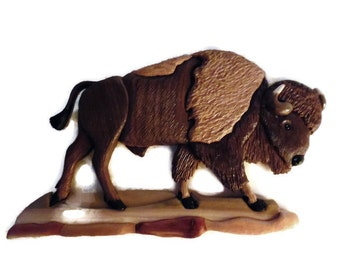 American Bison- buffalo-wooden wall hanging-scrollsaw-intarsia-carving- natural wood-cabin decor- gift for hunter-gift for  wildlife lover