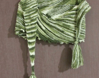 Knitted soft asymmetrical scarf. White and green rib pattern with tassels, tuft. Hand-knit, handmade.