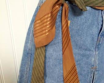 1950s 60s mens neck tie, belt, mens ties, sash, repurposed ties, green, gold, tie belt, vintage, festival
