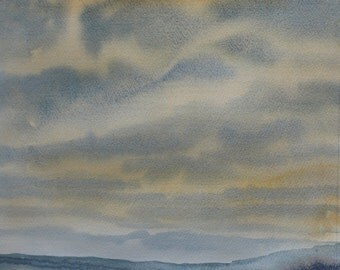 Original Watercolour landscape of cornwall, winter sky, winter clouds, skyscape, cornish art, mist, misty valley, mist rising, valley