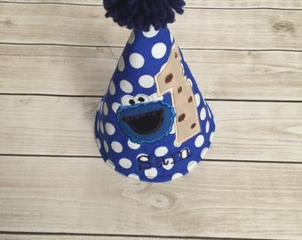 Cookie Monster Birthday Personalized Party Hat Number 1 or Number 2