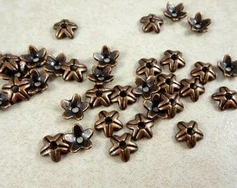 Bead Caps - Antiqued Copper Bead Caps - 9mm (A6061-AC) - Qty. 50